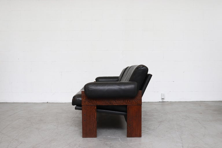 Mid-Century Modern Martin Visser Wenge and Black Leather 3-Seat Sofa For Sale