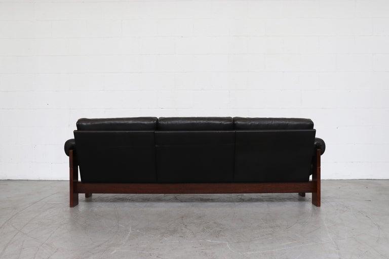 Martin Visser Wenge and Black Leather 3-Seat Sofa In Good Condition For Sale In Los Angeles, CA
