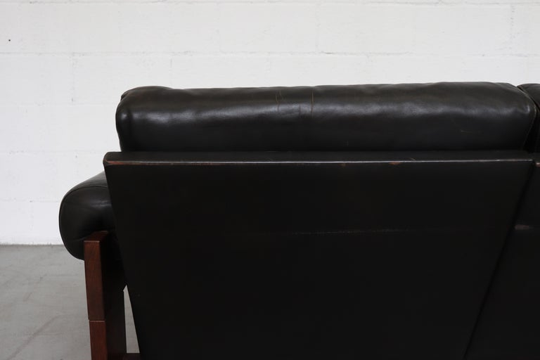 Mid-20th Century Martin Visser Wenge and Black Leather 3-Seat Sofa For Sale