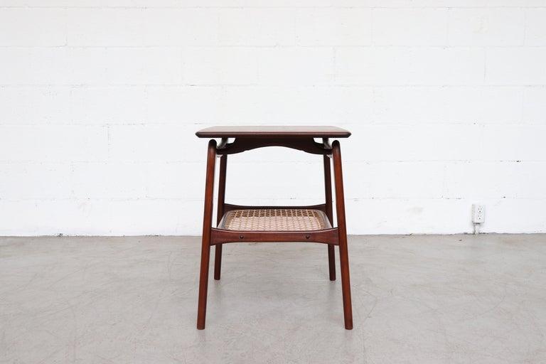 Dutch WéBé 'Ella' Teak Side or Coffee Table with Rattan Magazine Shelf For Sale