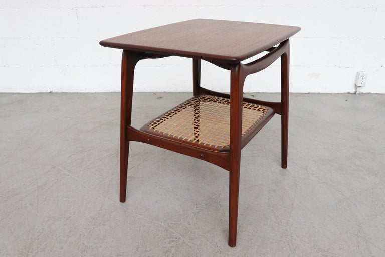 WéBé 'Ella' Teak Side or Coffee Table with Rattan Magazine Shelf In Good Condition For Sale In Los Angeles, CA