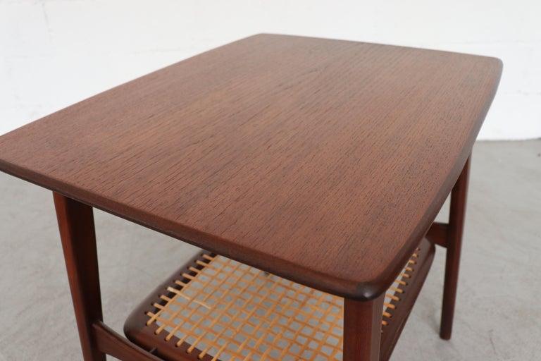 Mid-20th Century WéBé 'Ella' Teak Side or Coffee Table with Rattan Magazine Shelf For Sale