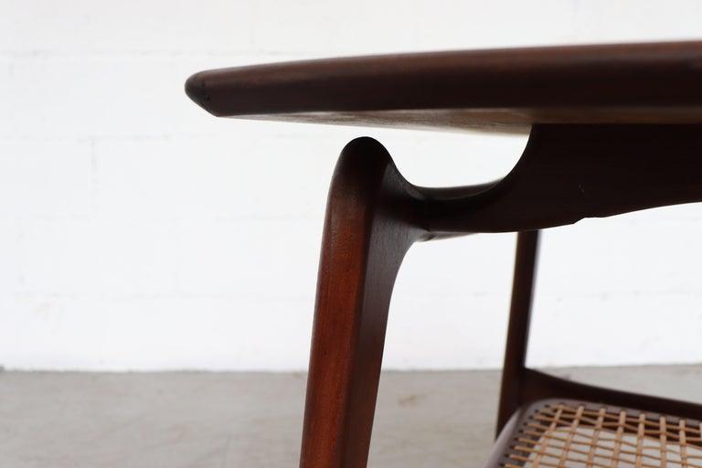 WéBé 'Ella' Teak Side or Coffee Table with Rattan Magazine Shelf For Sale 1