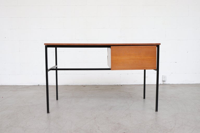 Enameled Pierre Guariche Teak Writing Desk for Meurop For Sale