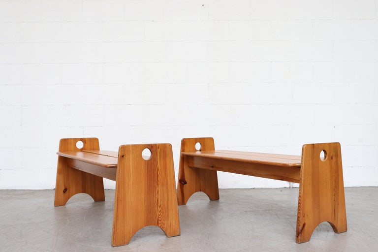 Gilbert Marklund Pine Dining Table and Bench Set For Sale 6