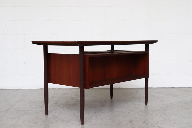 Mid-Century Modern Wébé Style Teak Writing Desk For Sale
