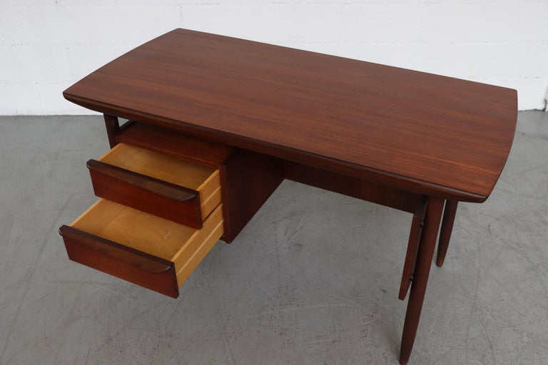 Mid-20th Century Wébé Style Teak Writing Desk For Sale