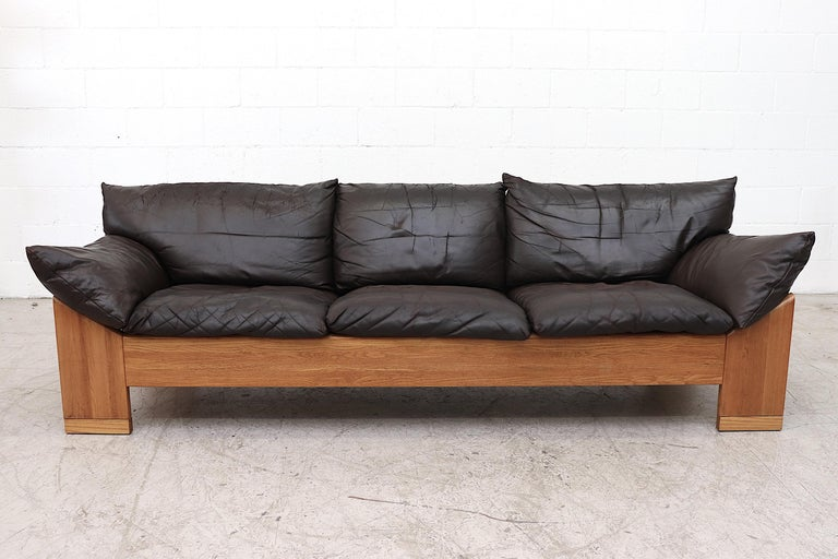 Handsome Well Loved Leolux 3 Seater Buffalo Leather Sofa