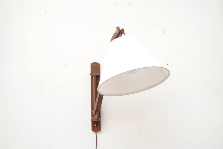 Dutch Midcentury Teak Wall Lamp with White Shade For Sale