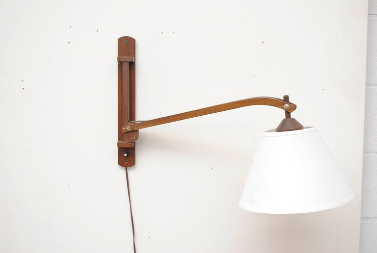 Midcentury Teak Wall Lamp with White Shade For Sale 1