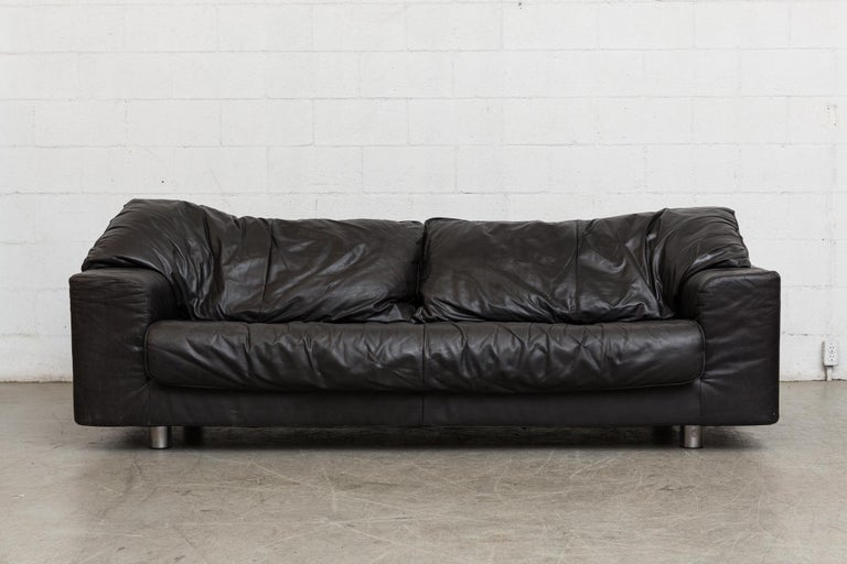 Mid-Century Modern Montis Black Leather Sofa For Sale