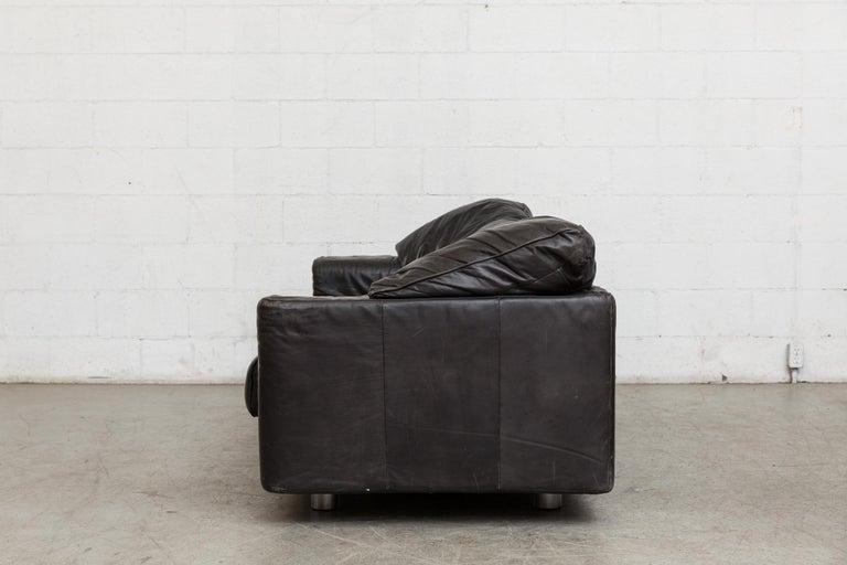 Dutch Montis Black Leather Sofa For Sale