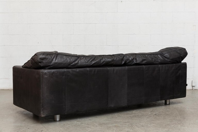 Montis Black Leather Sofa In Good Condition For Sale In Los Angeles, CA