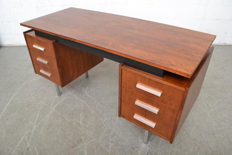 Chrome Cees Braakman Teak Desk for Pastoe For Sale