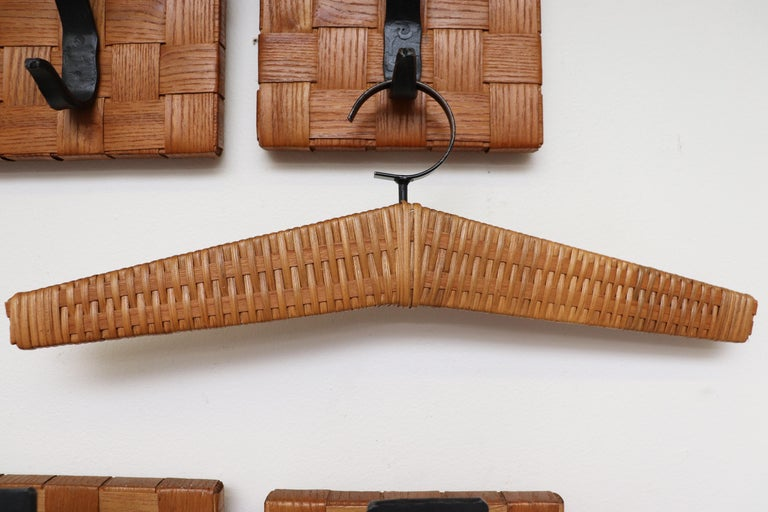 Midcentury Woven Rattan Wall Mount Hall Unit For Sale 2