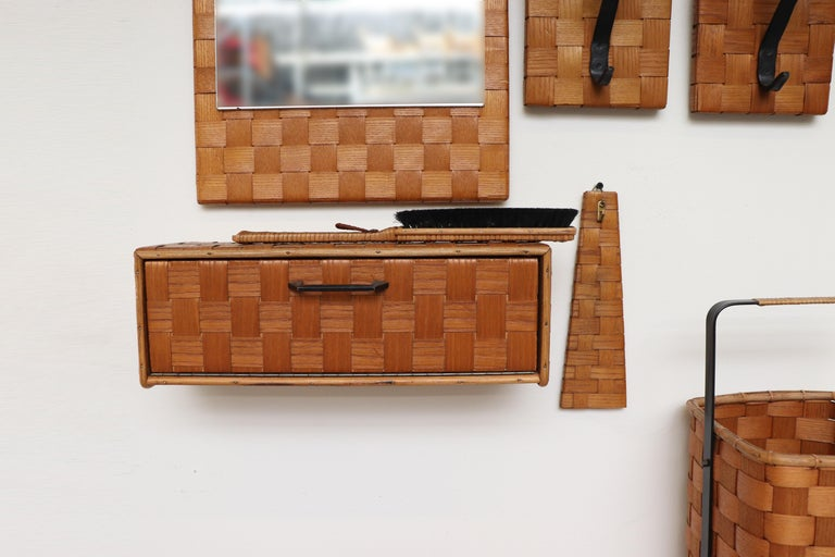 Mid-20th Century Midcentury Woven Rattan Wall Mount Hall Unit For Sale