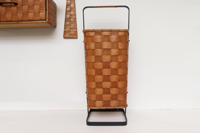 Metal Midcentury Woven Rattan Wall Mount Hall Unit For Sale