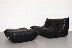 Ligne Roset 'TOGO' Black Leather Love Seat Sofa with Ottoman
