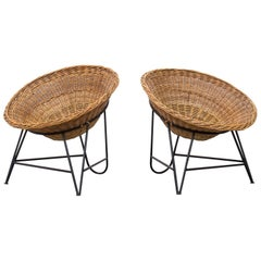 Jacques Adnet Style Woven Basket Chairs