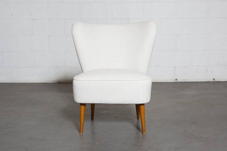 Theo Ruth Armless Boudoir Chair, Smaller In Stature. Newly Upholstered In  White, Legs