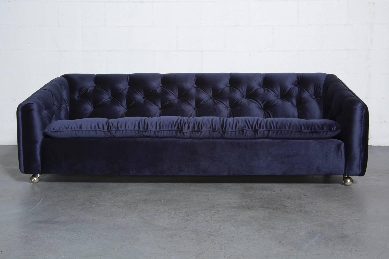 Artifort blue velvet tufted rolling sofa for sale at 1stdibs for Blue couches for sale