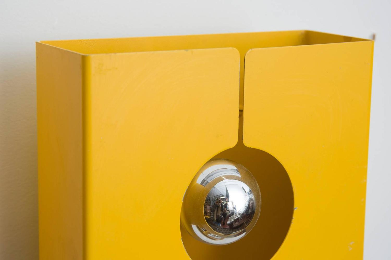 Yellow Wall Sconces : Pair of Mod Enameled Yellow Metal 1970s Wall Sconce from La Pagne Ski Resort at 1stdibs