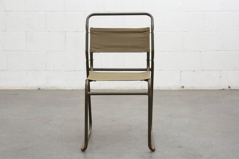 Mid Century Modern Set Of Eight Stacking Army Green Canvas Chairs For Sale