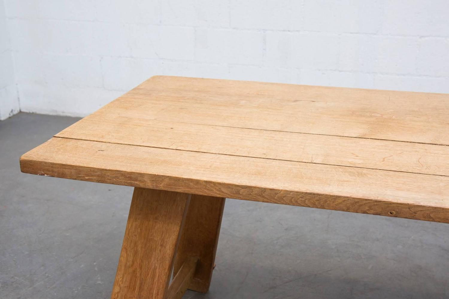 Solid Oak Trestle Dining Table at 1stdibs : C8A3063z from www.1stdibs.com size 1500 x 1000 jpeg 97kB