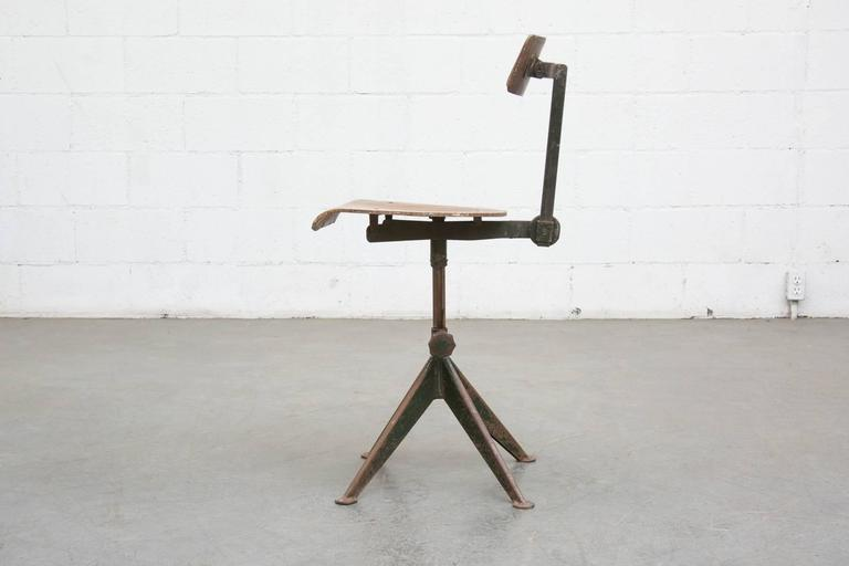 Superieur Jean Prouve Style Compass Based Drafting Chair In Very Original Condition.  Visible Wear And Paint