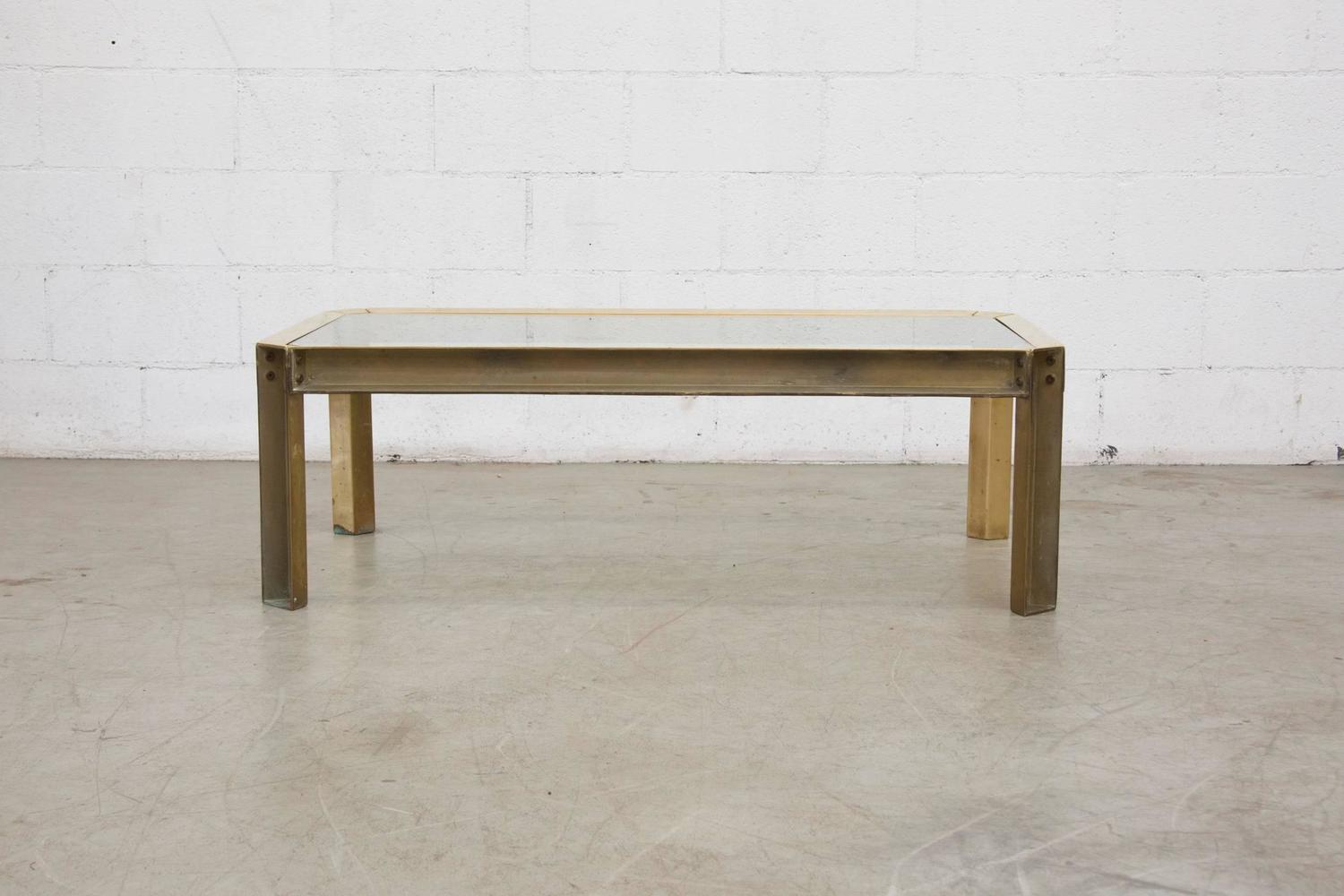 Peter Ghyzcy Raw Brass And Glass Industrial Style Coffee Table At 1stdibs