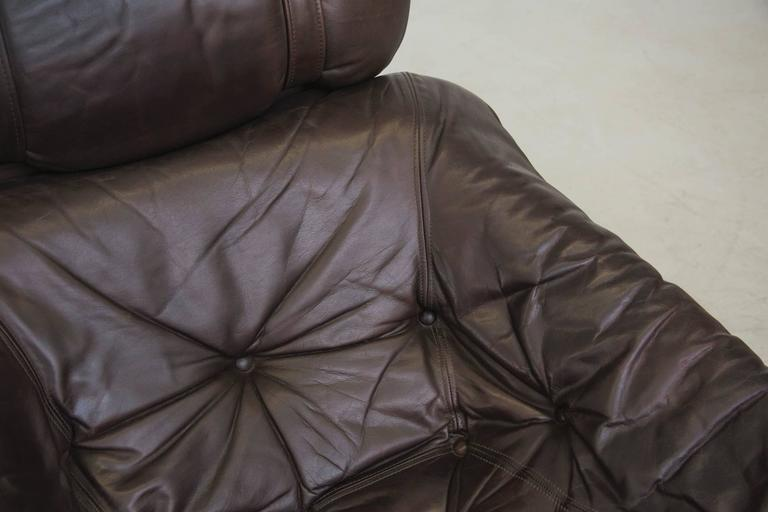 Brazilian Inspired Leather Tripod Chair and Ottoman by Gerard Van Den Berg For Sale 2