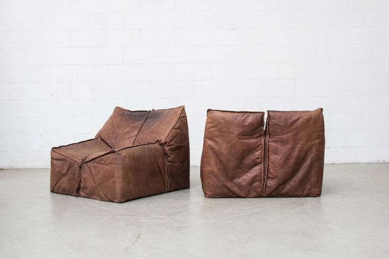 Bon Mid Century Modern Gerard Van Den Berg Style Geometric Vintage Leather Sofa  Set For Sale