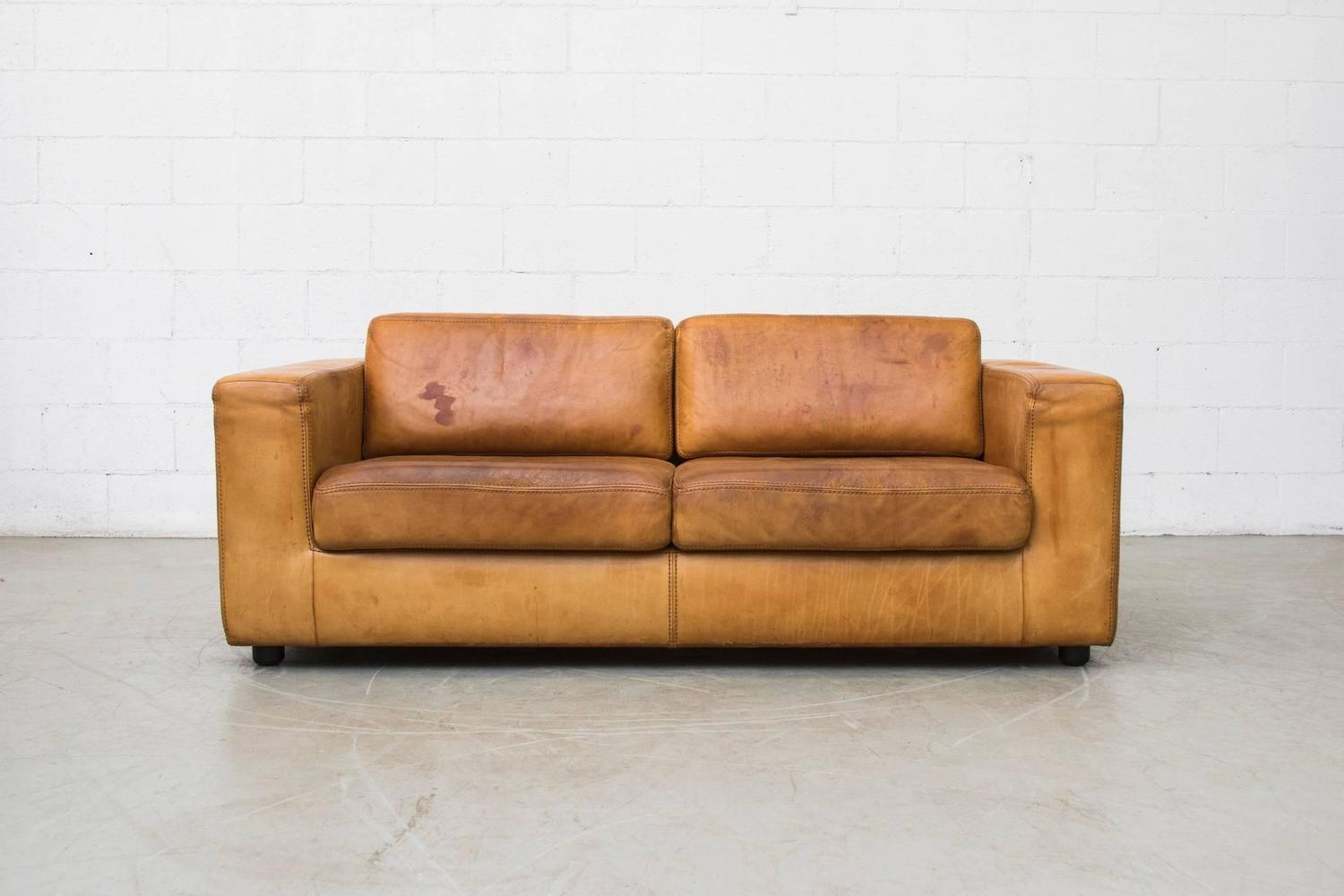 natural leather two cushion sofa by durlet at 1stdibs