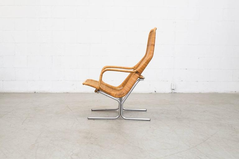 Dirk Van Sliedrecht Rattan Lounge Chair With Chrome Sled
