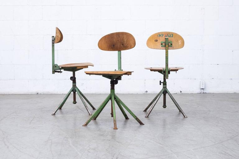 Prouve Inspired Industrial Drafting Chairs For Sale at 1stdibs