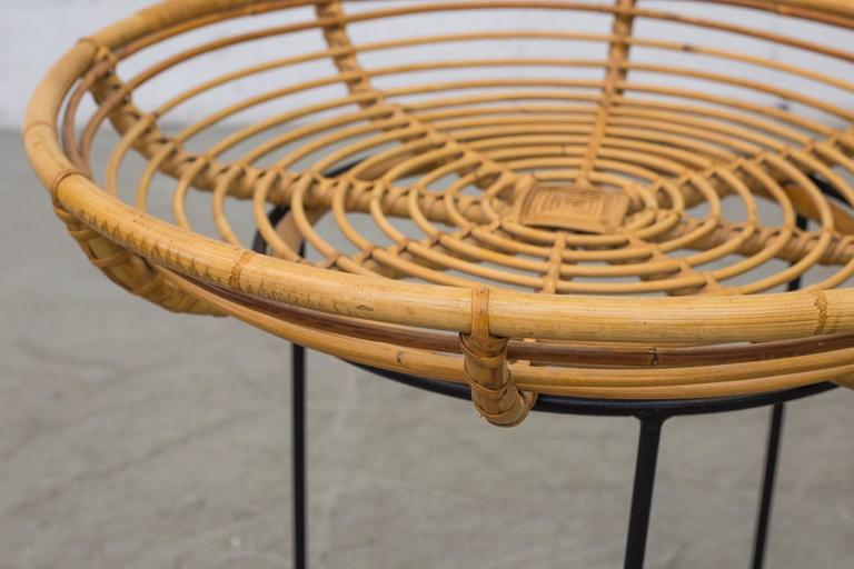 Mid Century Bamboo Basket or Tray Side Table at 1stdibs