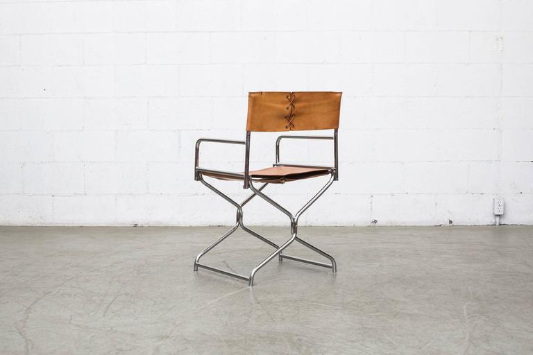 Set Of Four Chrome And Leather Folding Directors Chairs At