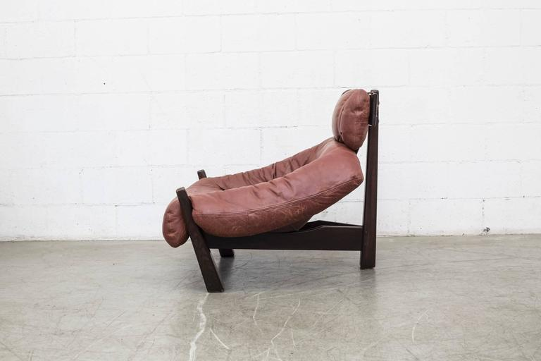 Mid-Century Modern Percival Lafer Style Leather Lounge Chair by Gerard Van Den Berg For Sale