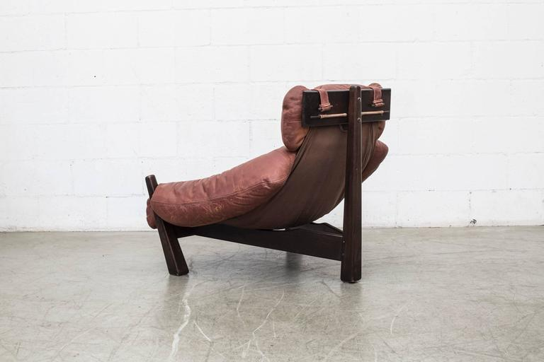 Dutch Percival Lafer Style Leather Lounge Chair by Gerard Van Den Berg For Sale