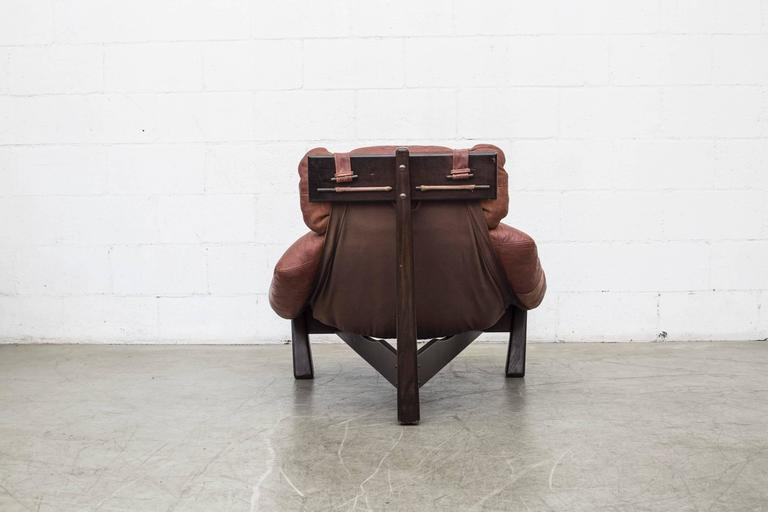 Percival Lafer Style Leather Lounge Chair by Gerard Van Den Berg In Good Condition For Sale In Los Angeles, CA