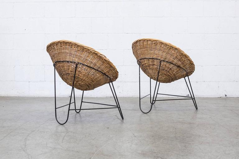 Enameled Jacques Adnet Style Woven Basket Chairs