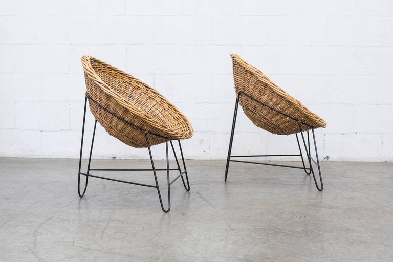 Dutch Jacques Adnet Style Woven Basket Chairs