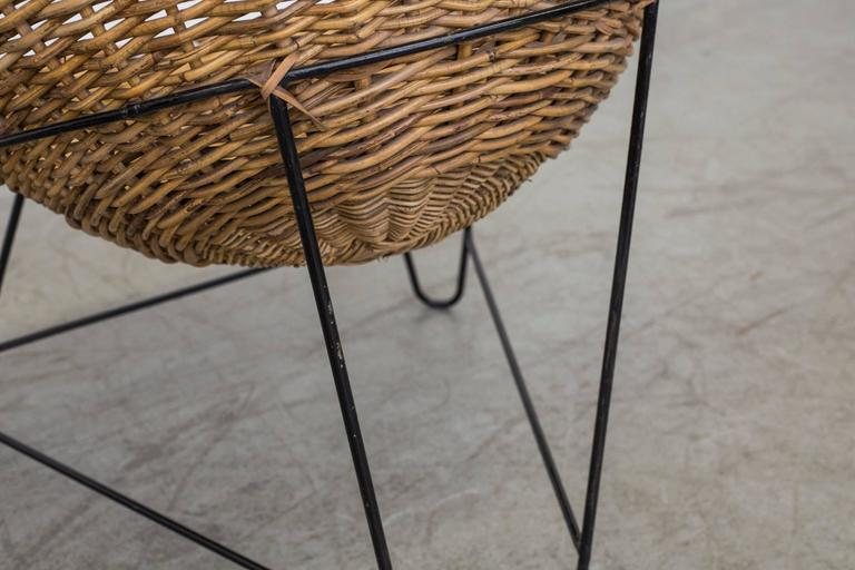 Metal Jacques Adnet Style Woven Basket Chairs