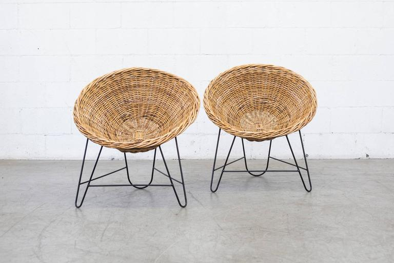 Mid-Century Modern Jacques Adnet Style Woven Basket Chairs