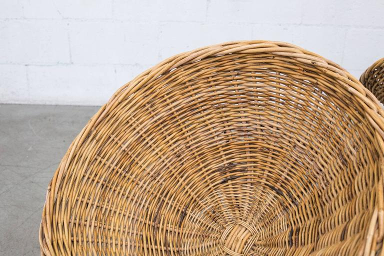 Jacques Adnet Style Woven Basket Chairs 2