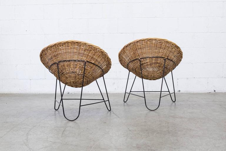 Jacques Adnet Style Woven Basket Chairs In Good Condition In Los Angeles, CA