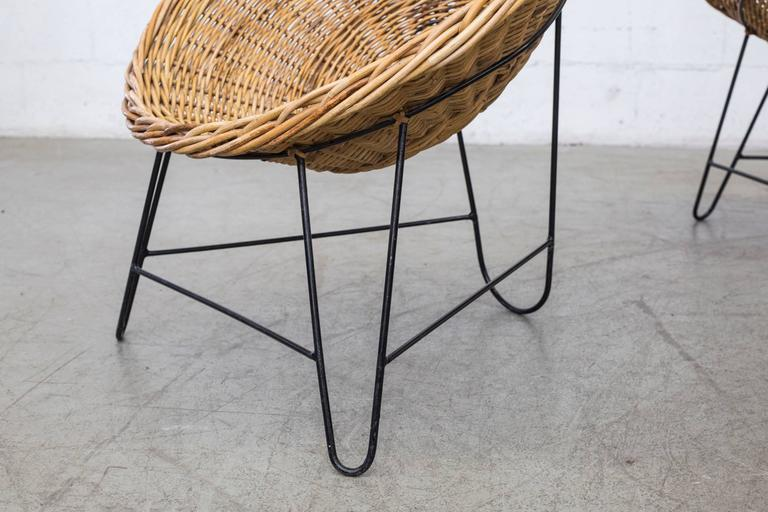 Mid-20th Century Jacques Adnet Style Woven Basket Chairs