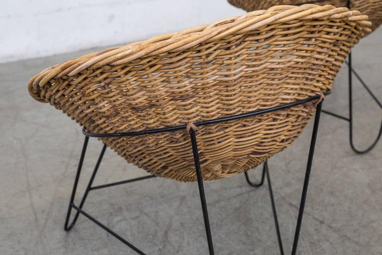Jacques Adnet Style Woven Basket Chairs 1