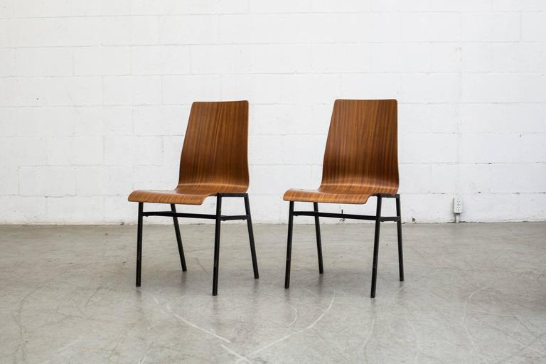Mid Century Modern Thonet Style Stacking Bent Plywood School Chairs For Sale