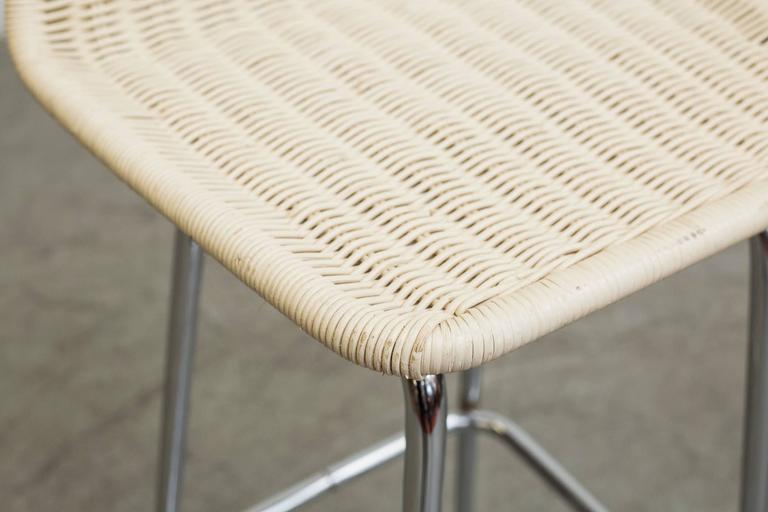 Charlotte Perriand Style White Wicker Bar Stools At 1stdibs